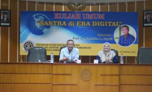 "Kuliah Umum Prodi Sastra Indonesia ""Sastra di Era Digital"" bersama Prof Suminto A. Sayuti"
